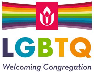 Rainbow bars fan out on either side of the Unitarian Universalist logo. Beneath them is the caption, 'LGBTQ Welcoming Congregation.'