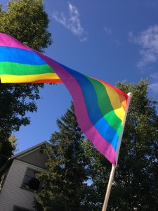 Rainbow flag billowing against a background of blue sky, tree foliage and part of a house