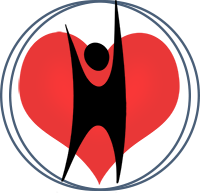 Abstract rendering of human figure, black, standing upright with arms raised against red heart in a white circle, surrounded by linked black double-outline