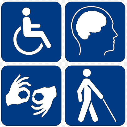 Image divided into four quadrants, displaying symbols of disability. In upper left, a person in wheelchair. In upper left, a brain within a human's face turned in profile. In lower left, hands communicating with sign language. In lower right, a person walking with a cane