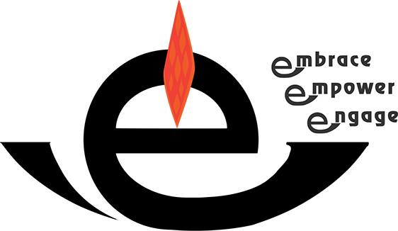 "Lower-case letter ""e"" crafted as a chalice a flame emerging from the letter's crossbar. In the upper right of the design are the words ""embrace,"" ""engage"" and ""empower"""