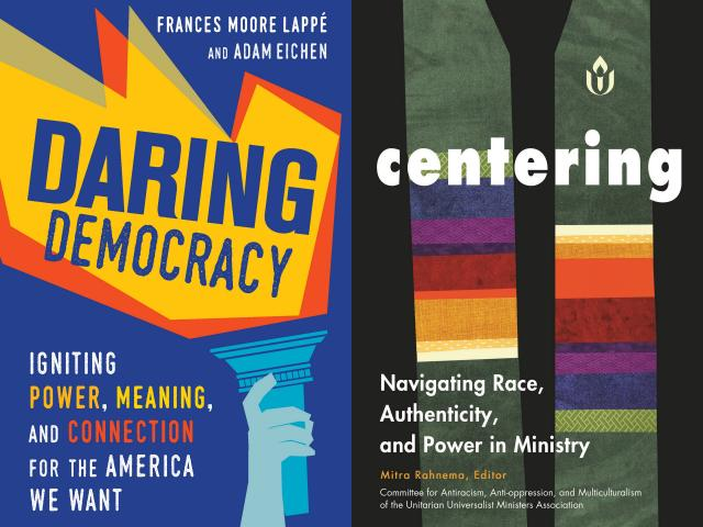 Side-by-side cover images for 'Daring Democracy' and 'Centering'
